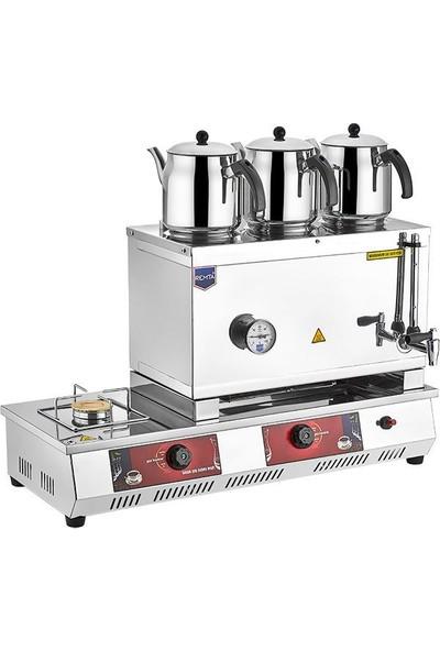 Remta Doğalgazlı Çay Kazanı Üç Demlikli 33 Lt Remta Çay Ocağı Makinesi
