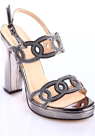 Dgn 589-9437 Kadın Bilekten Bağlı Lazer Kesim Lita Topuklu Abiye Ayakkabı Platin Ayna Sim