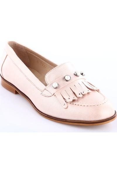 Dgn 7232 Kadın Taşlı Oxford Ayakkabı Pudra Saten