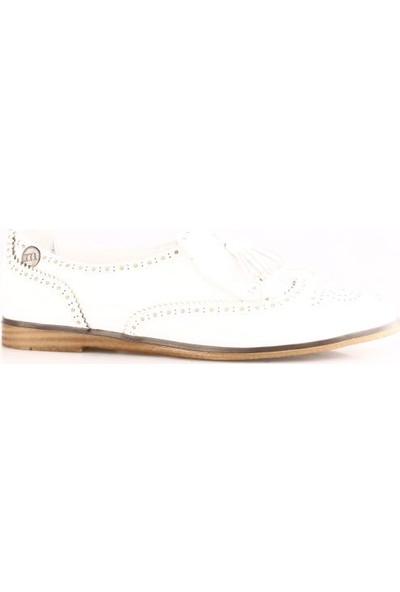 Mammamia 480B Kadın Püsküllü Oxford Ayakkabı Beyaz Faber