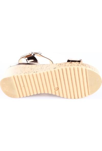 Poletto 1031-6148-1 Kadın Dolgu Taban Sandalet Bakır Ayna