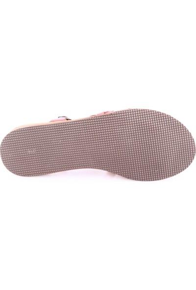 Dgn 8012 Kadın Eva Taban Bilekten Bağlı Gladyatör Sandalet Kırmızı