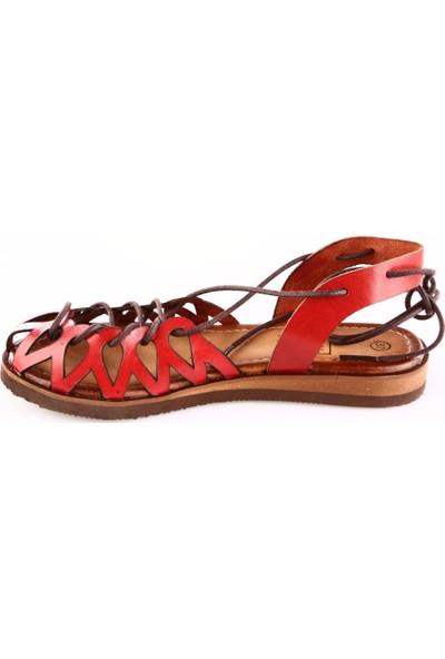 Dgn 8013 Kadın Eva Taban Sarmal Bağlı Gladyatör Sandalet Kırmızı
