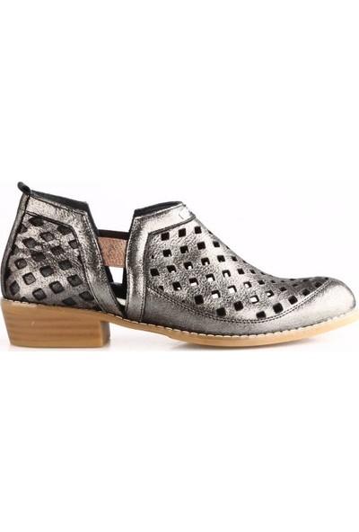 Mammamia 760B Kadın Lazerli Günlük Ayakkabı Bakır Simli Flotur