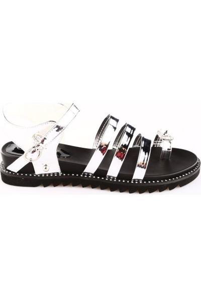 Guja 18Y419 Kadın Üç Band Parmak Taşlı Parmak Arası Sandalet Gümüş