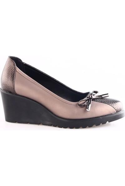 Dgn 6705 Kadın Dolgu Taban Kurdelalı Ayakkabı Kahve