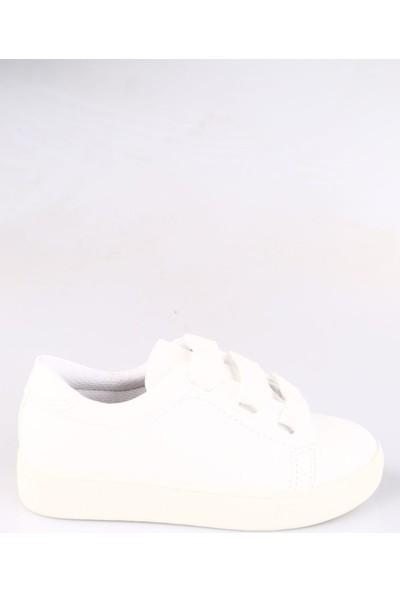 Dgn K1040-B Kadın Kalın Bağcıklı Trend Sneakers Spor Ayakkabı Beyaz