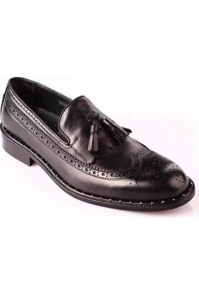 Dgn 3060-13220 Erkek Neolit Taban M Model Püsküllü Klasik Ayakkabı Siyah Antik
