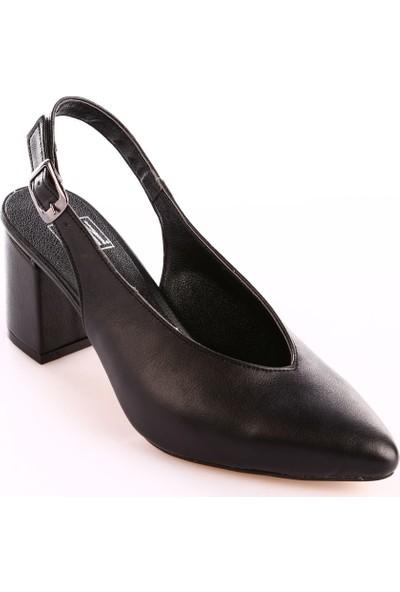 Dgn 586 Kadın Sivri Burun V Kesim Ökçe Dekolte Topuklu Ayakkabı Siyah