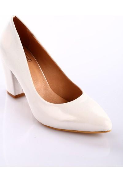 Dgn 633 Kadın Sivri Burun Parmak Dekolteli 11 Pont Kalın Topuklu Ayakkabı Sedef Sultan