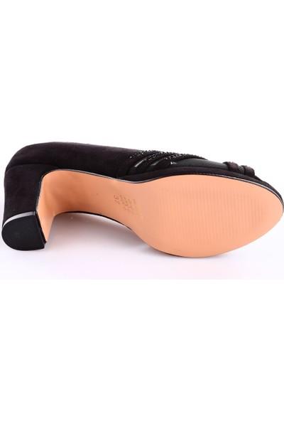 Dgn 8210 Kadın Burnu Açık Yüzü Çapraz Taşlı Kalın Topuklu Ayakkabı Siyah Süet