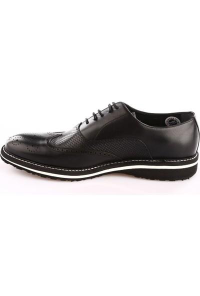 Fosco 8571 Erkek Çizgili Eva Taban M Model Klasik Ayakkabı Siyah