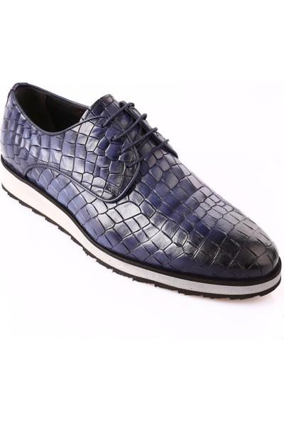 Dgn 9412-504 Erkek Eva Taban Bağcıklı Klasik Ayakkabı Kot Mavi Kroko