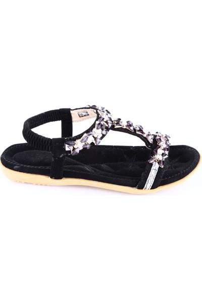 Guja 18Y107-1 Kız Çocuk Taşlı Sandalaet Siyah