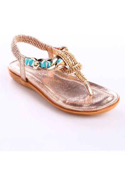 Guja 18Y212-2 Kız Çocuk Taşlı Parmak Arası Sandalet Altın