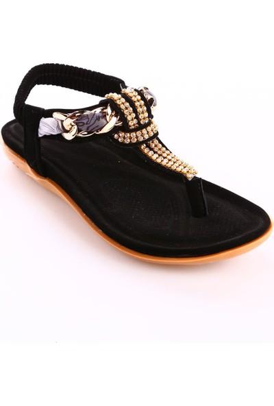 Guja 18Y212-2 Kız Çocuk Taşlı Parmak Arası Sandalet Siyah