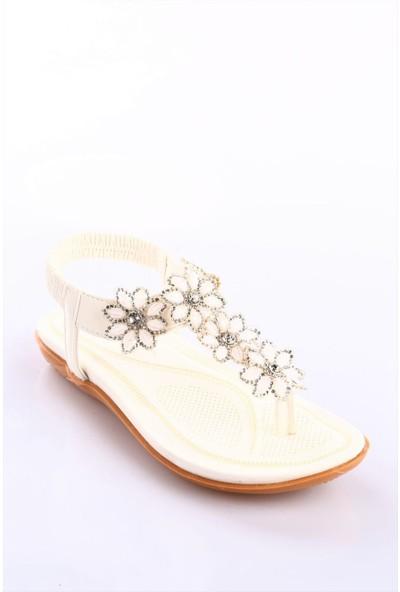 Guja 18Y212-3 Kız Çocuk Silikon Çiçekli Parmak Arası Sandalet Beyaz