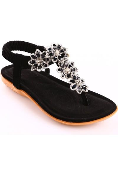 Guja 18Y212-3 Kız Çocuk Silikon Çiçekli Parmak Arası Sandalet Siyah