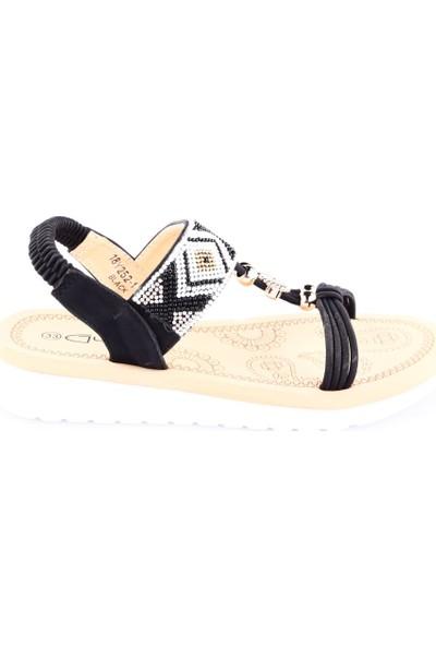 Guja 18Y252-1 Kız Çocuk Kalın Taban Etnik Desen Boncuklu Sandalet Siyah