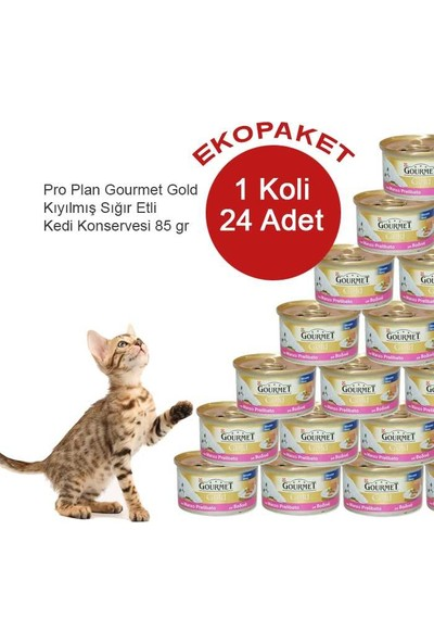 Gourmet Gold Kıyılmış Sığır Etli Kedi Konserve Maması 24 Al 20 Öde