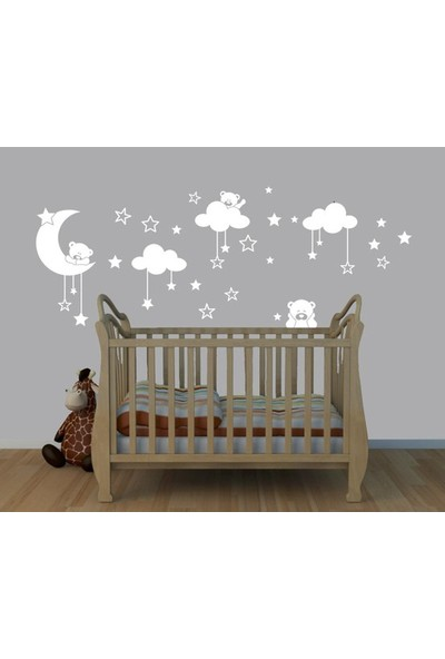 Areksan Reklam Duvar Sticker Ayıcıklı Yıldızlar ve Bulutlar