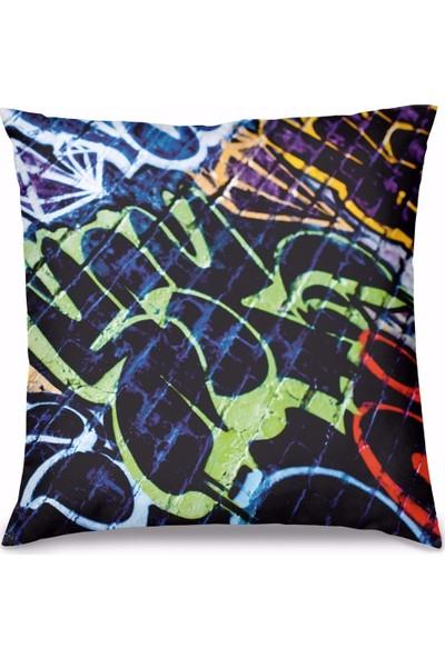 Olunca Graffiti Tasarım Kırlent Yastık 40x40 cm