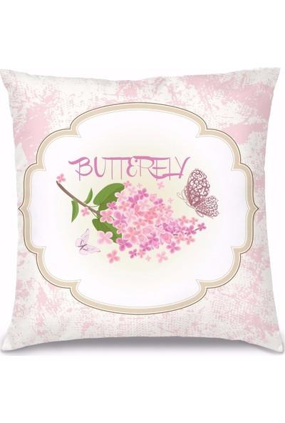 Olunca Butterfly Tasarım Kırlent Yastık 40x40 cm