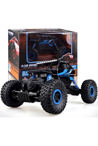 R/C 1:18 Rock Crawler 4x4 WD Uzaktan Kumandalı Araba Buggy Jeep - Mavi