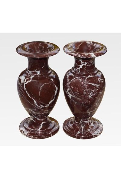 Matmazel Mermer Onyx Değerli Taş Ve Doğal Mermerden İmal El Yapımı 2 Adet Modern Vazo Seti.