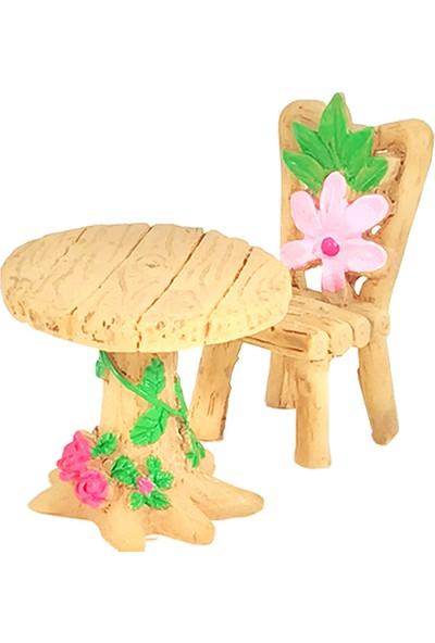 Teraryumal Teraryum Malzemeleri Yuvarlak Çiçekli Masa Sandalye Seti