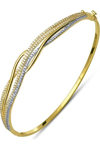 Allegrogold Ablz0002 Bilezik 14 Ayar Altın Zirkon Taşlı Üç Sıra Kelepçe Bilezik