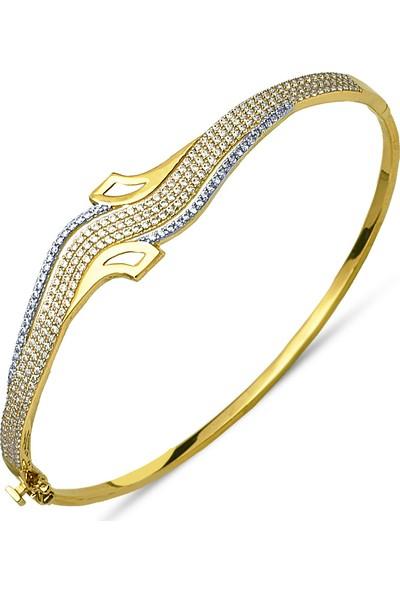 Allegrogold Ablz0018 Bilezik 14 Ayar Altın Zirkon Taşlı Dalgalı Kelepçe Bilezik