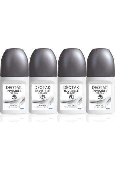Deotak Deo Roll-On 35 ml Invısıble Erkek 4 Adet (Gri)