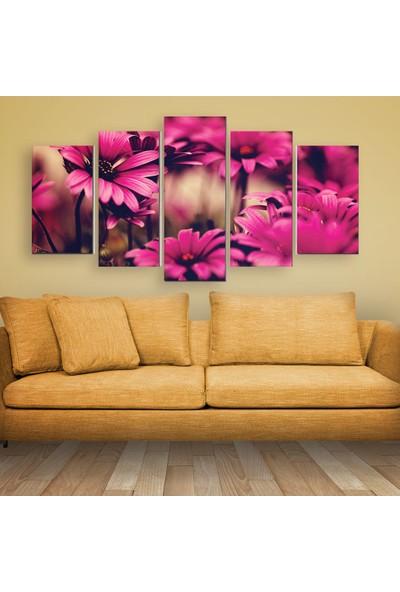 Agf Pembe Çiçek Temalı 5 Parça Dekoratif Mdf Tablo