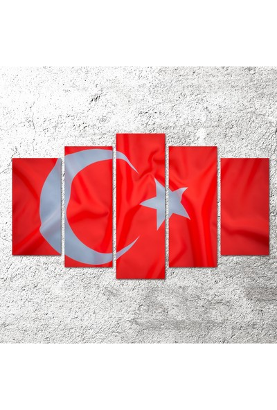 Agf Türk Bayrağı Temalı 5 Parça Dekoratif Mdf Tablo