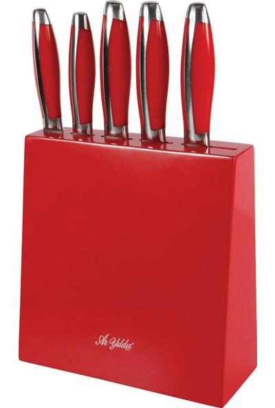 Aryıldız Standlı 5 Prç Bıçak Seti Kırmızı