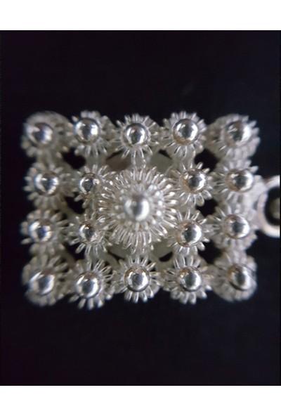Estel Gümüş Telkari Kare Kolye