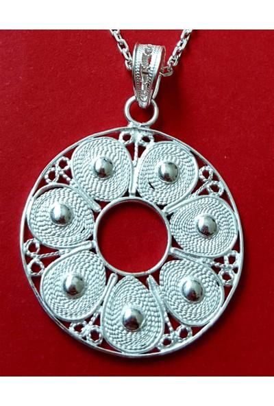 Estel Gümüş Telkari Yuvarlak Kolye