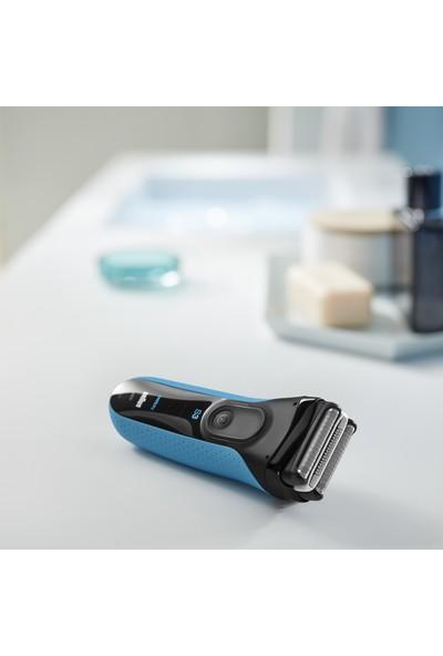 Braun Series 3 ProSkin 3040s Tıraş Makinesi, Siyah/Mavi - Şarj Edilebilir Elektrikli Suya Dayanıklı Tıraş Makinesi