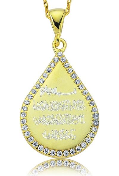 Gumush Gümüş Damla Nazar Duası Bayan Kolye 1296