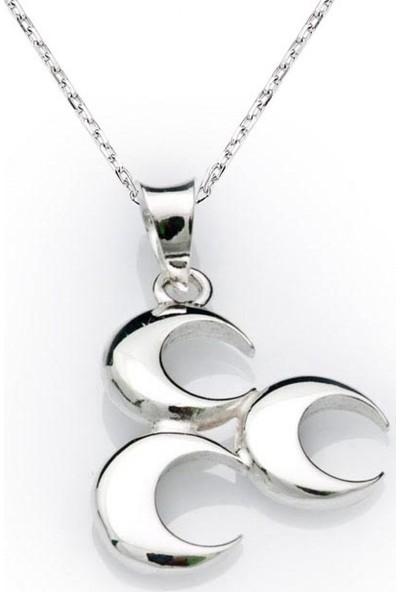 Gumush Gümüş Üç Hilal Kolye