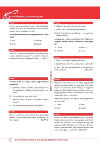 Ddy Yayınları 5. Sınıf Din Kültürü Ve Ahlak Bilgisi Yetenekli Test