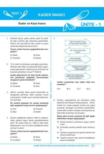 Ddy Yayınları 8.Sınıf Din Kültürü Ve Ahlak Bilgisi Yetenekli Test