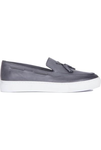 Sail Laker's Gri Erkek Günlük Deri Ayakkabı