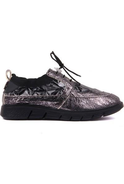 A Plus Gri Deri Kadın Günlük Ayakkabı