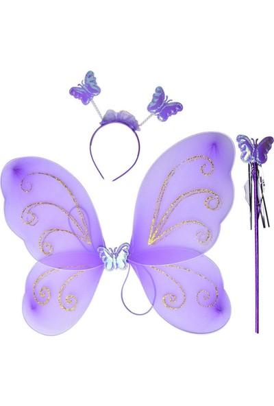 Balonpark 1 Ad Mor Kelebek Kanadı,1 Ad Kelebek Tacı,1 Ad Sihirli Değnek Set