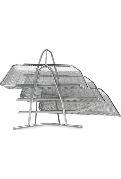Globox Metal Gri Evrak Rafı 3'Lü