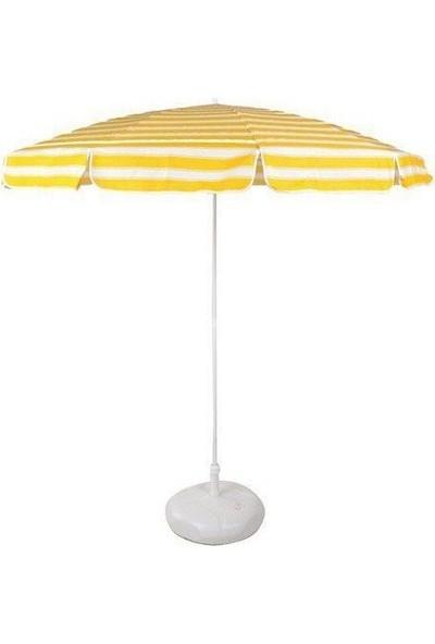 Primera Plaj Şemsiyesi 200 Cm Sarı Çizgili Pamuklu Kumaş ( Bidonlu )