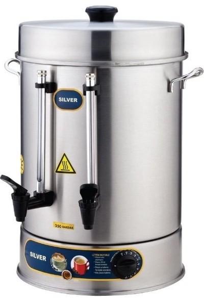 Silver Paslanmaz Sanayi Tipi Çay Makinesi Potu 60 Bardak Çaymatik