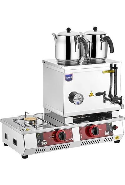 Remta Tüplü Çay Ocağı Çift Demlikli 23 Litre Çay Kazanı Makinesi